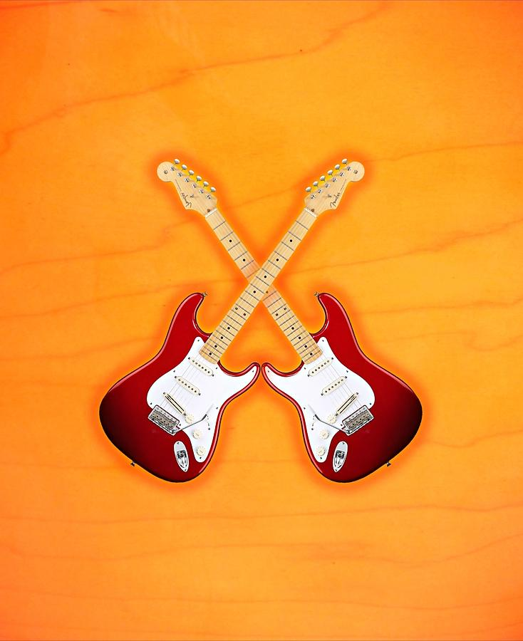 Fender Digital Art - Fender Stratocaster American Standart Red   by Doron Mafdoos