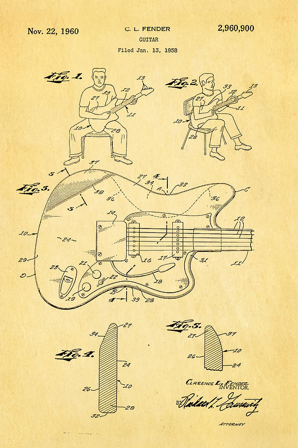 Famous Photograph - Fender Jazzmaster Guitar Patent Art 1960  by Ian Monk
