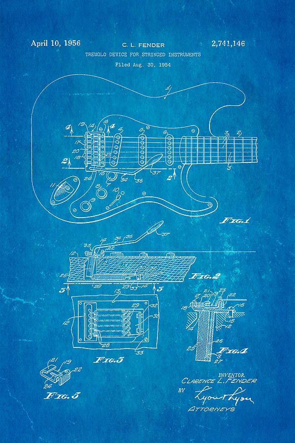 Fender stratocaster tremolo arm patent art 1956 blueprint photograph famous photograph fender stratocaster tremolo arm patent art 1956 blueprint by ian monk malvernweather Image collections