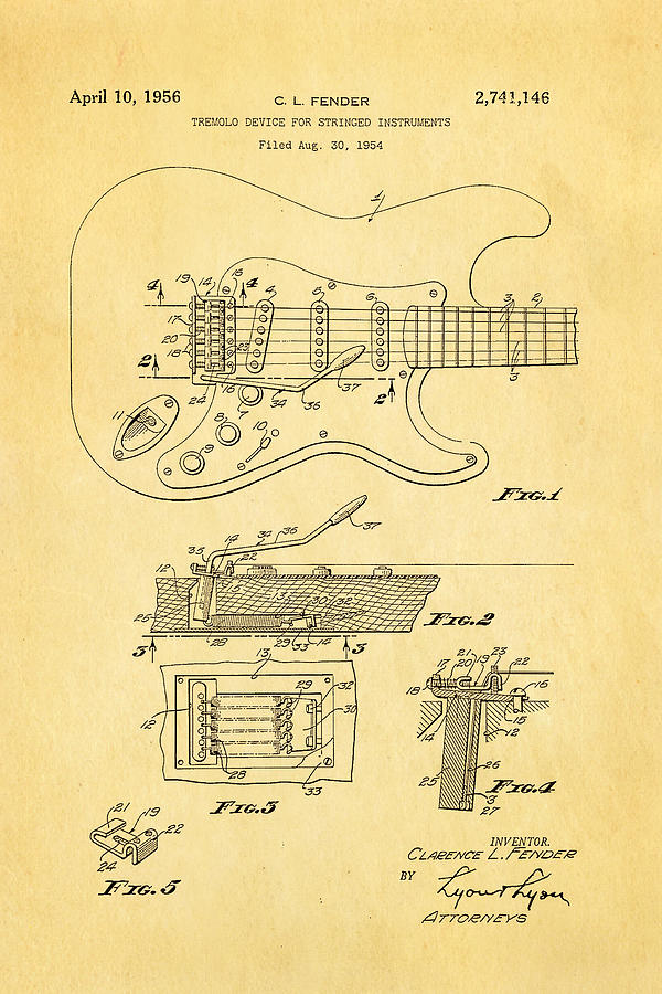 Famous Photograph - Fender Stratocaster Tremolo Arm Patent Art 1956 by Ian Monk
