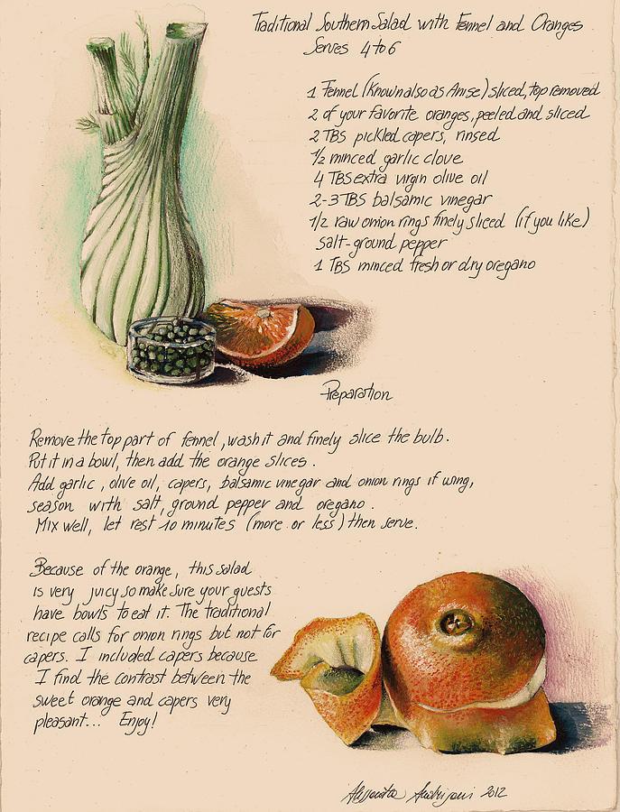 Orange Painting - Fennel Salad by Alessandra Andrisani