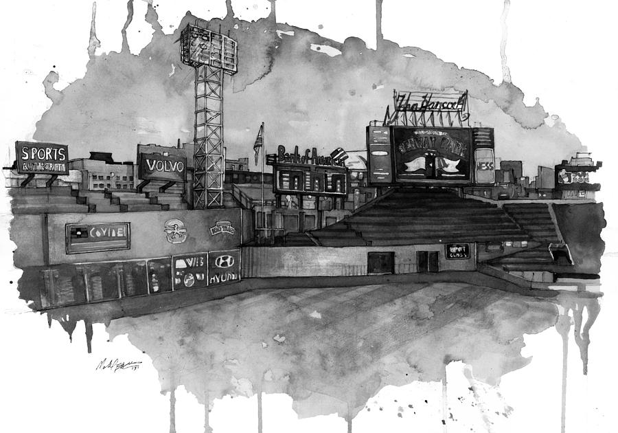 Fenway Painting - Fenway Bw by Michael  Pattison