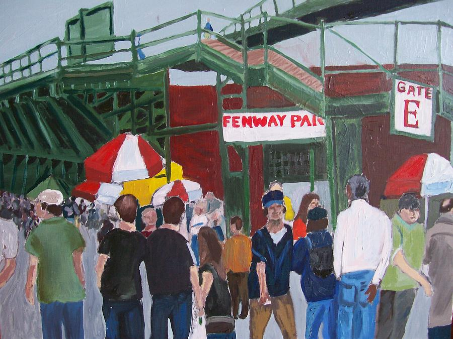Landscape Painting - Fenway Park Spring Time by Carmela Cattuti