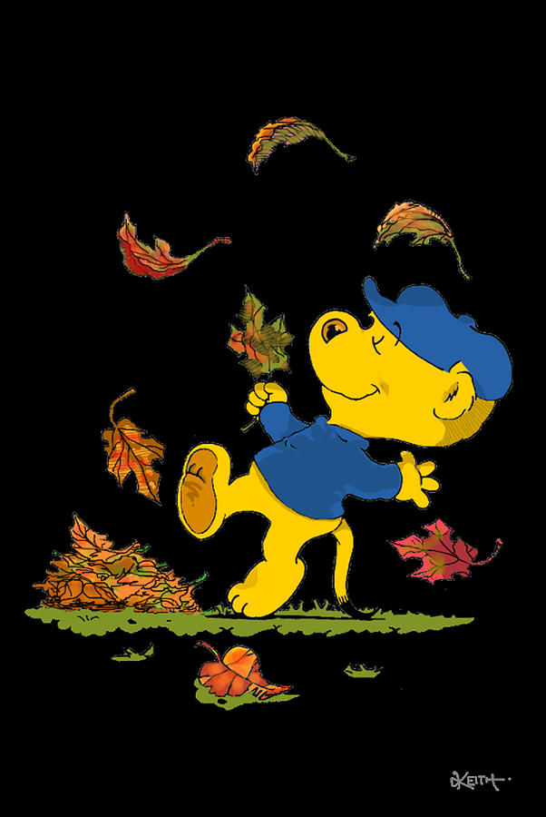 Cartoons Drawing - Ferald Dancing Amongst The Autumn Leaves by Keith Williams