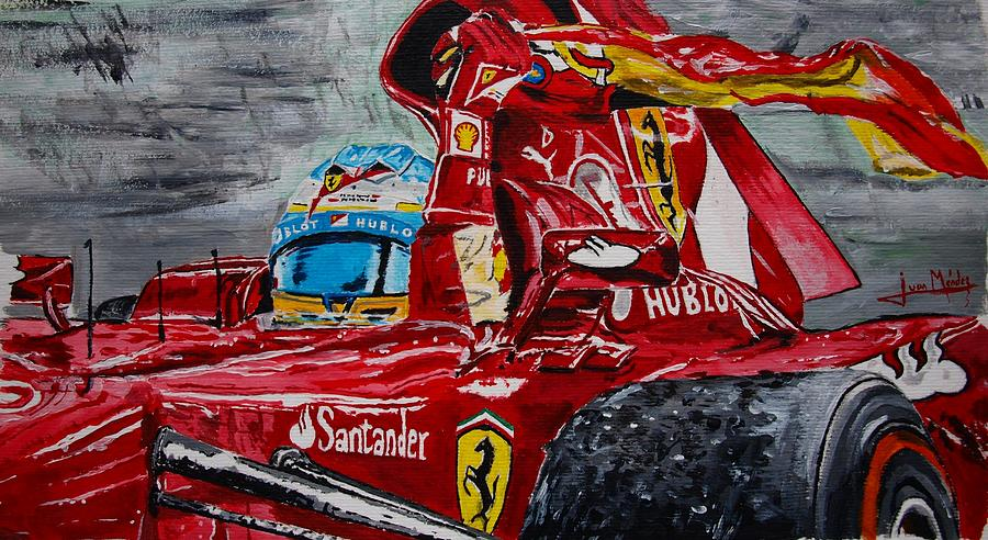 Fernando Alonso Painting - Fernando Alonso And Ferrari F10 by Juan Mendez