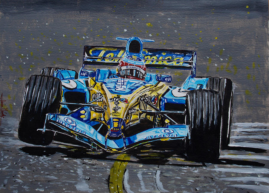 Fernando Alonso Painting - Fernando Alonso In Blue by Juan Mendez