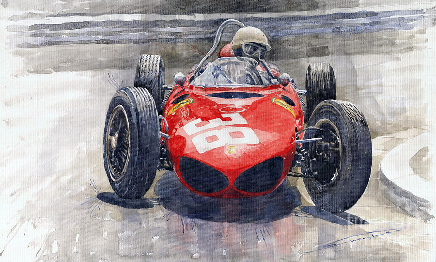 Watercolor Painting - Ferrari 156 Sharknose Phil Hill Monaco 1961 by Yuriy Shevchuk