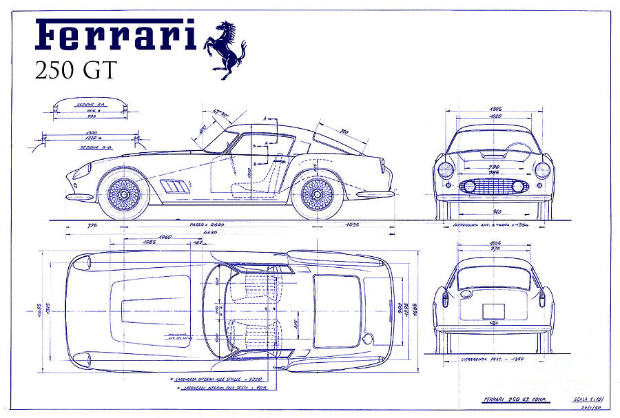 Ferrari 250 gt blueprint photograph by jon neidert ferrari 250 gt photograph ferrari 250 gt blueprint by jon neidert malvernweather Gallery