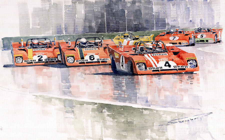 Watercolor Painting - Ferrari 312 Pb Daytona 6 Hours 1972 by Yuriy Shevchuk