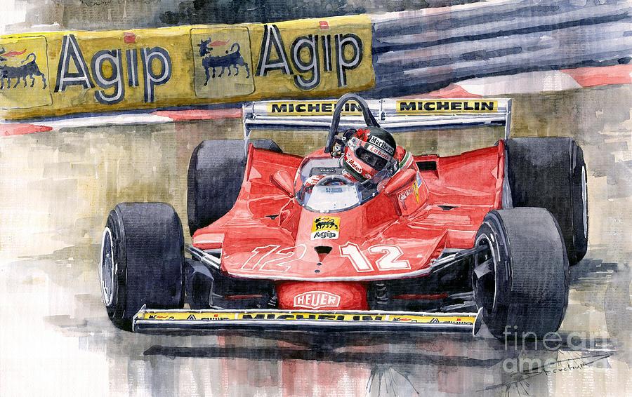 Ferrari 312t4 Gilles Villeneuve Monaco Gp 1979 Painting By