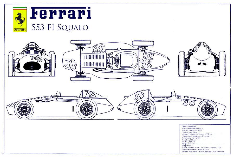 Ferrari 553 f1 squalo blueprint photograph by jon neidert f1 photograph ferrari 553 f1 squalo blueprint by jon neidert malvernweather Gallery
