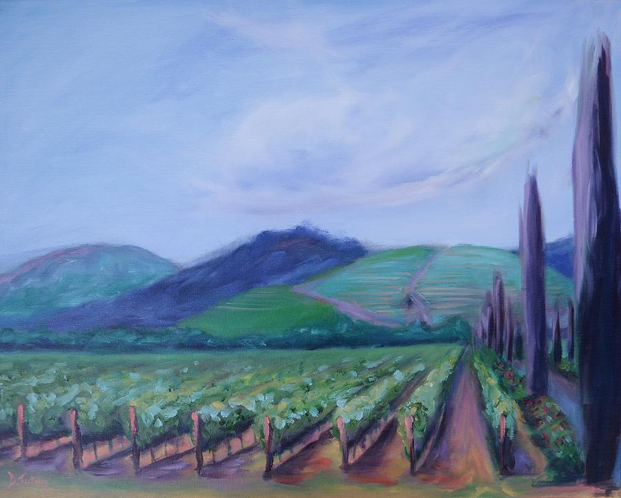 Vineyard Painting - Ferrari Carano Vineyard by Donna Tuten