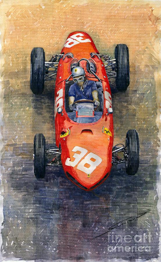 Watercolor Painting - Ferrari Dino 156 1962 Monaco Gp by Yuriy Shevchuk