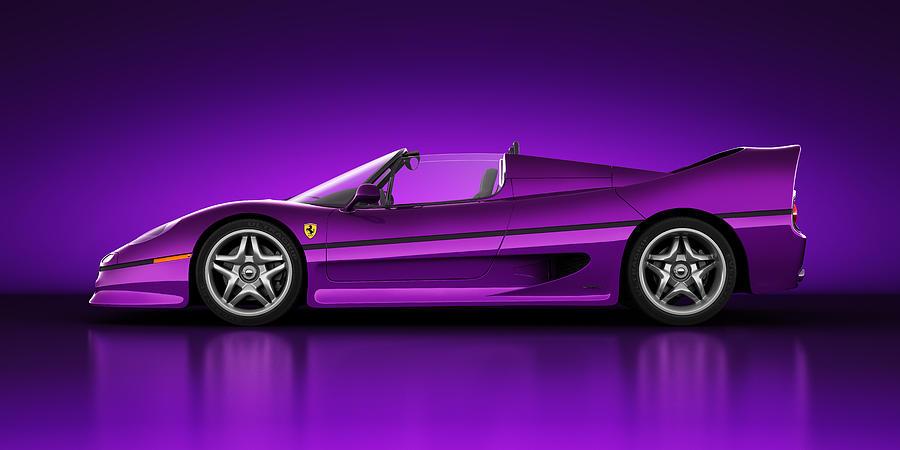 Transportation Digital Art - Ferrari F50 - Neon by Marc Orphanos