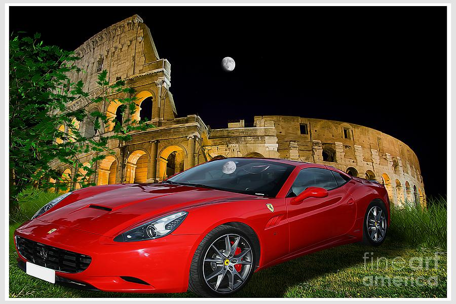 Moon Photograph - Ferrari under Colosseum by Stefano Senise