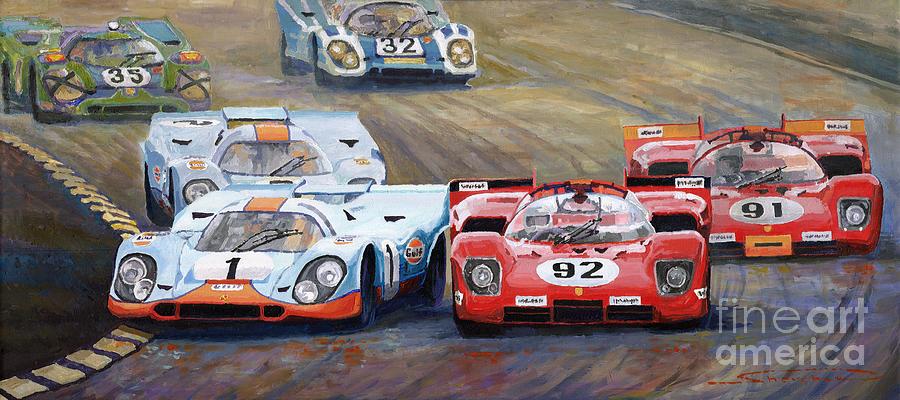 Automotive Painting - Ferrari Vs Porsche 1970 Watkins Glen 6 Hours by Yuriy Shevchuk