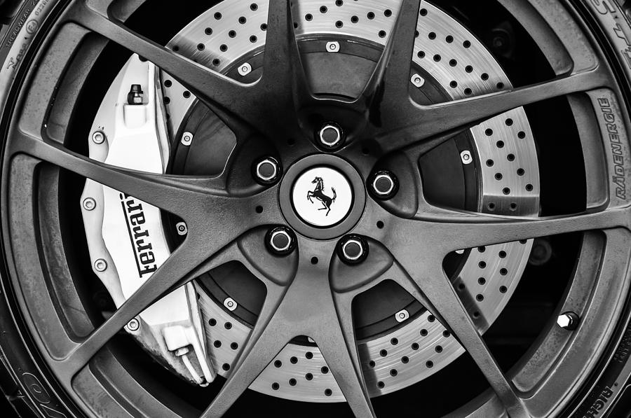 Bw Photograph - Ferrari Wheel Emblem - Brake Emblem -0430bw by Jill Reger
