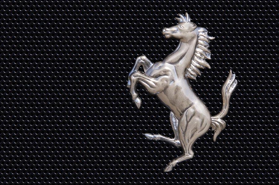 Ferraris Horse Logo In Chrome Photograph By Scott Lenhart