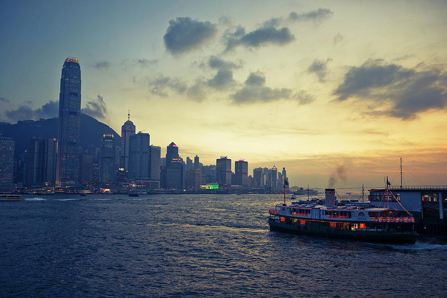 Ferry And Hong Kong Island Waterfront Photograph by Merten Snijders