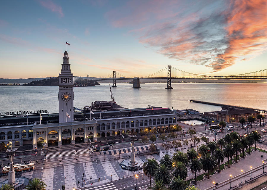 Ferry Building Sunrise - San Francisco Photograph by Michael Lee