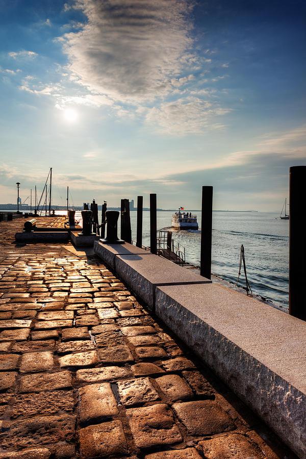 Boston Harbor Photograph - Ferry Leaves Long Wharf by Jo Ann Snover