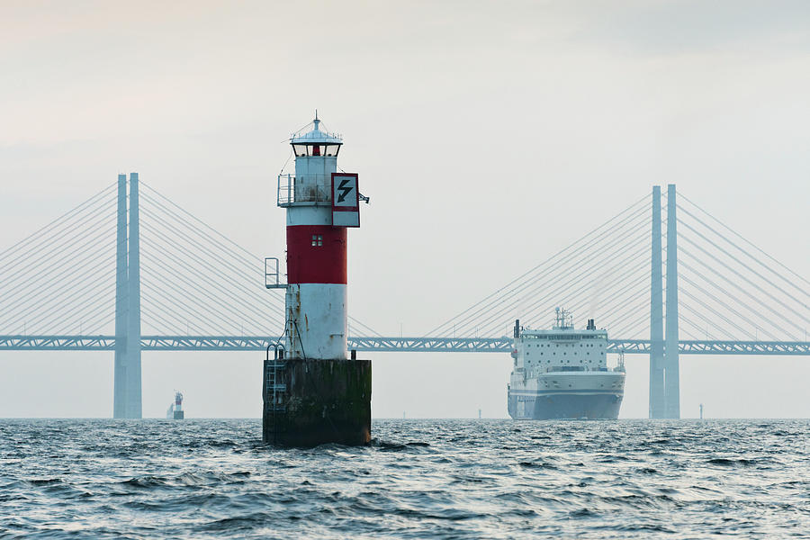 Ferry On Sea, Oresund Bridge In Photograph by Johner Images