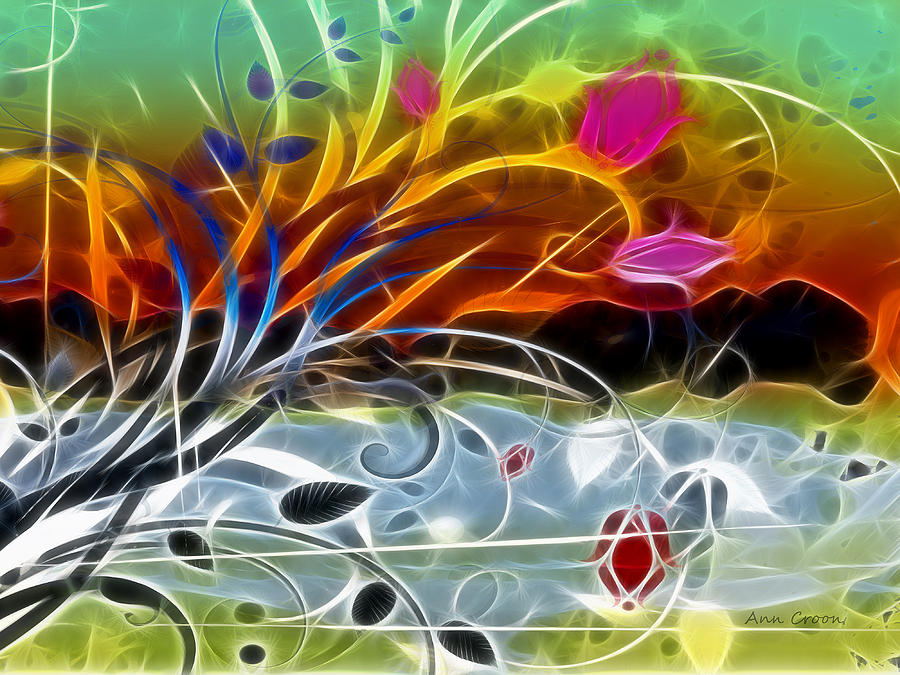 Abstract Design Digital Art - Festival by Ann Croon