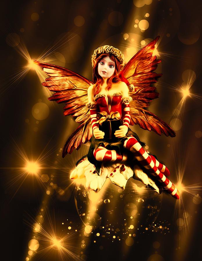 Figure Photograph - Festive Amber Fairy by Bill Tiepelman