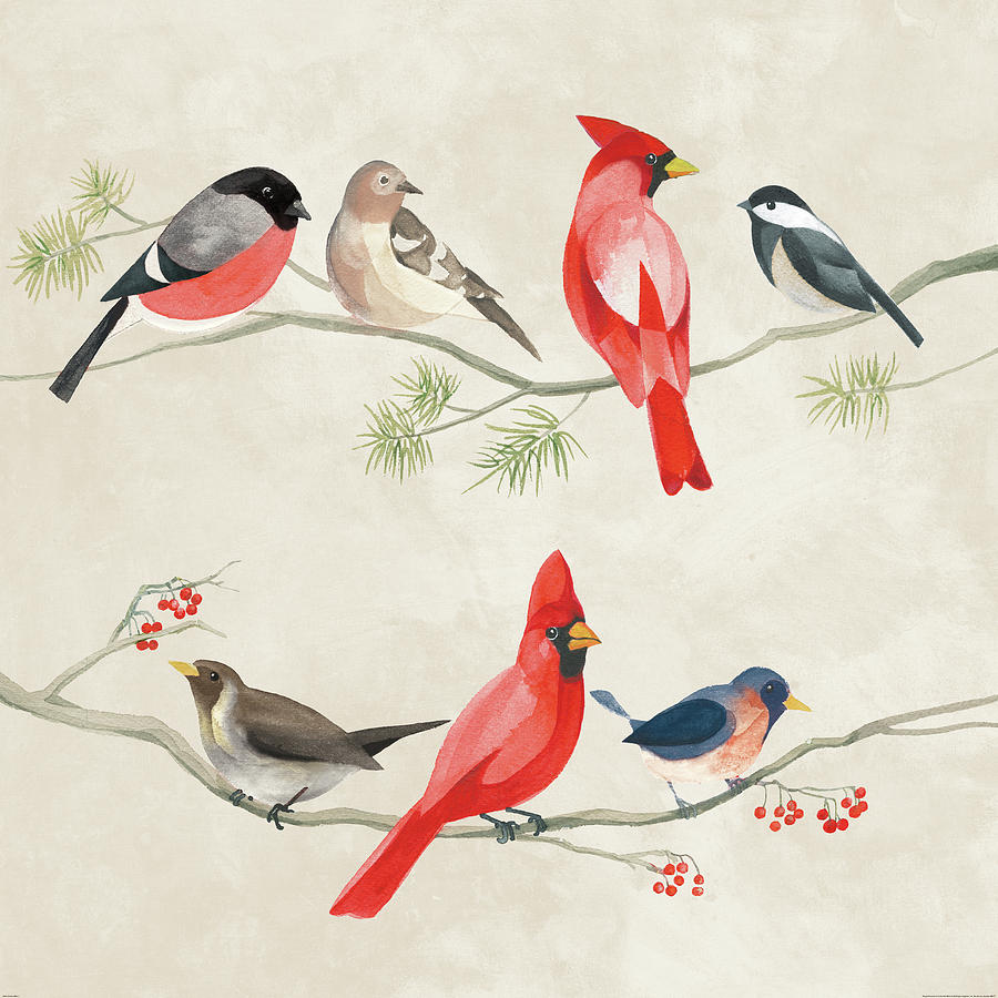 Animal Painting - Festive Birds I by Danhui Nai