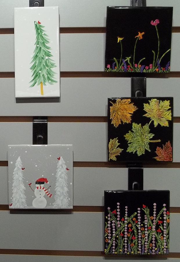 Christmas Ceramic Art - Festive Decorative Tiles by Joyce Kerr