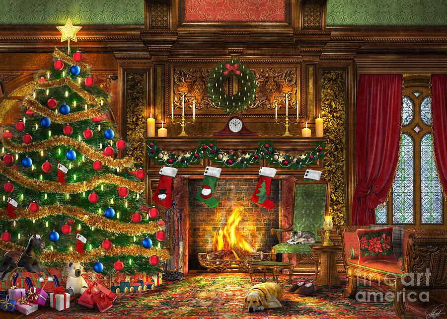 Dominic Davison Digital Art - Festive Fireplace by Dominic Davison
