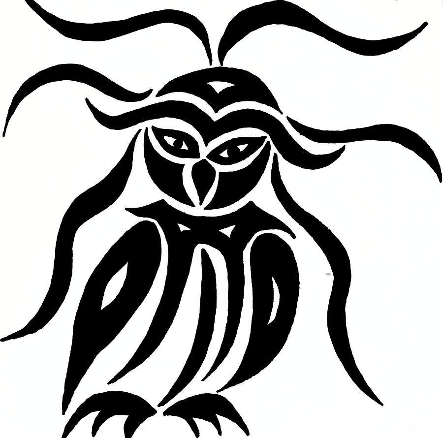 Festive Owl Drawing - Festive Owl by Beth Akerman