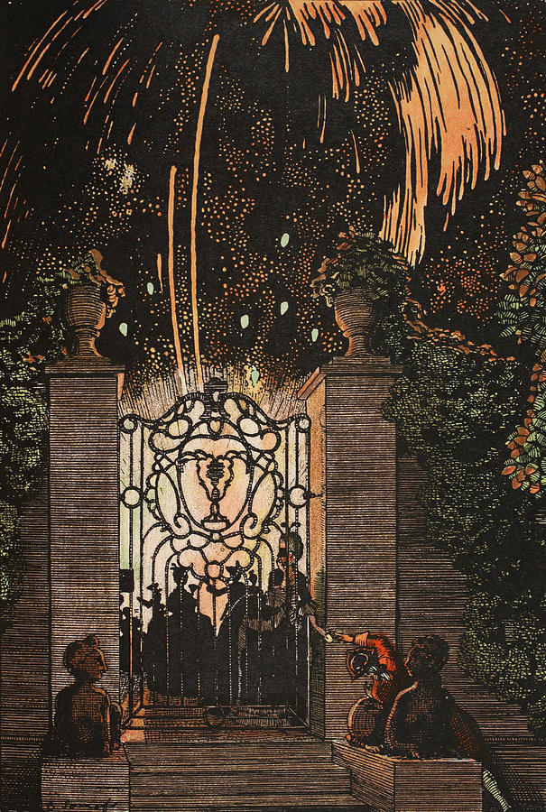 Illustrator Painting - Feu D Artifice by Konstantin Andreevic Somov
