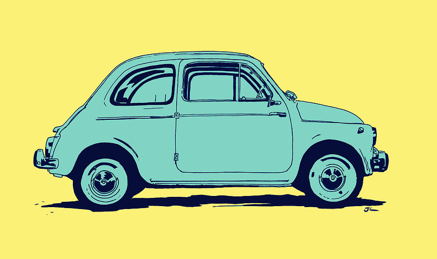 Car Drawing - Fiat 500 by Giuseppe Cristiano