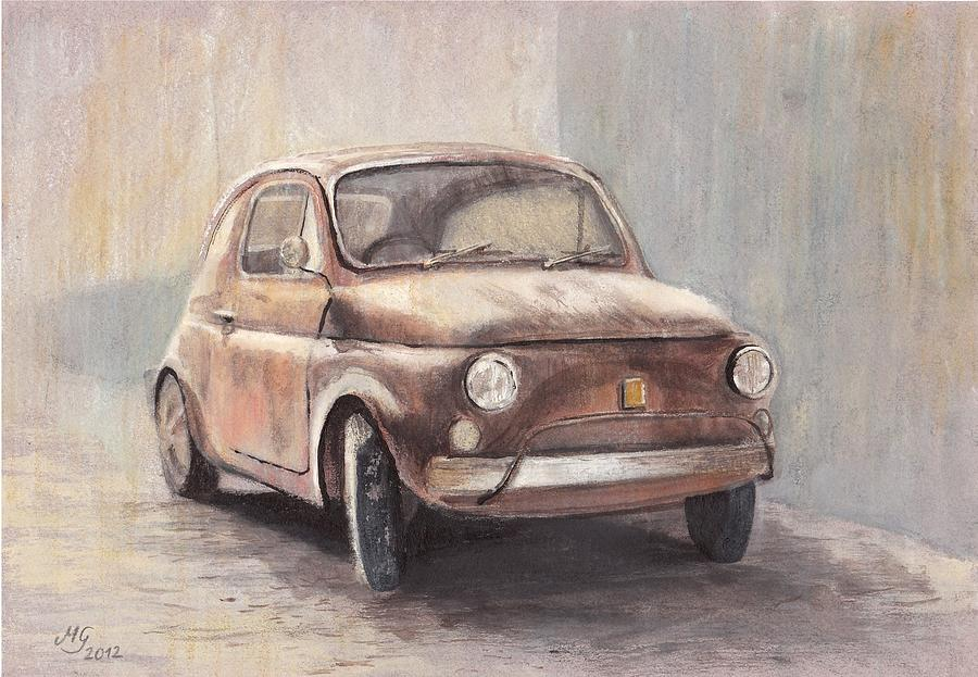 Fiat 500 Drawing By Milena Gawlik