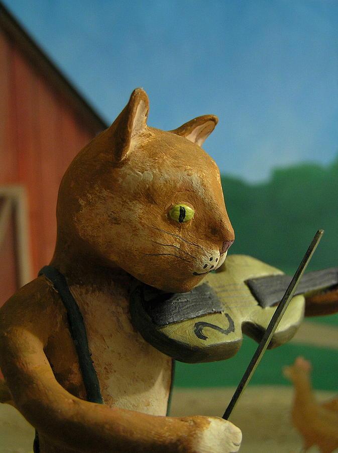 Cat Mixed Media - Fiddle Cat 2 by Jennifer Montgomery