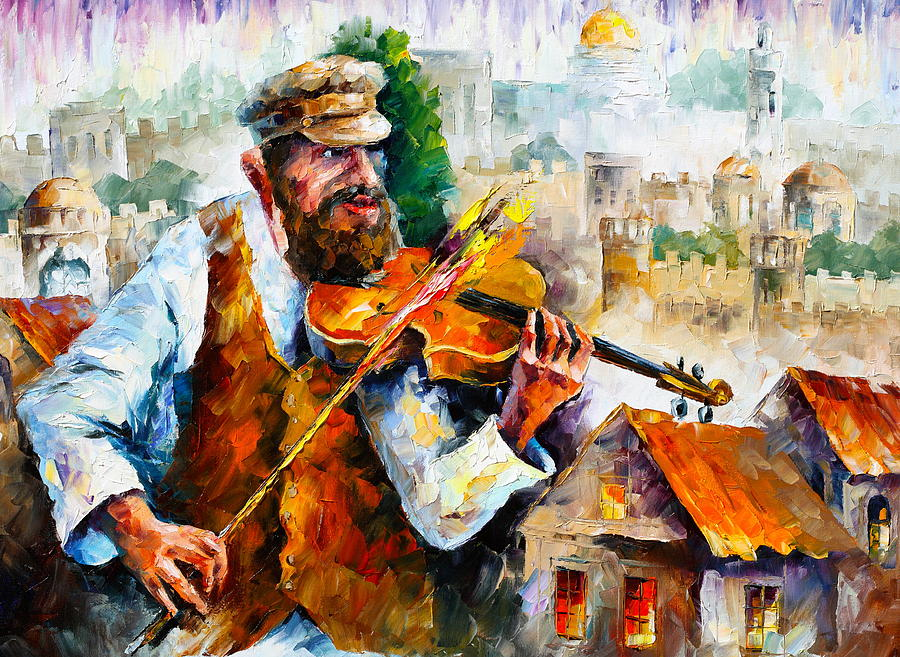 Fiddler In Jerusalem 2 New Painting By Leonid Afremov