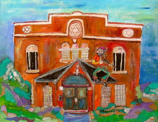 Synagogue In Lachine Painting - Fiddler In Lachine by Michael Litvack