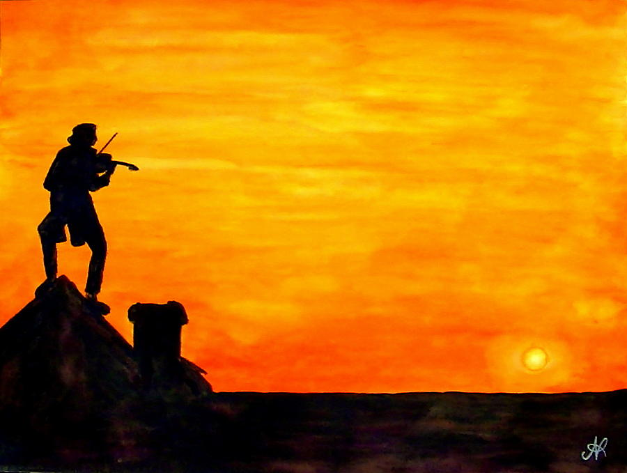Fiddler Painting - Fiddler On The Roof by Nieve Andrea