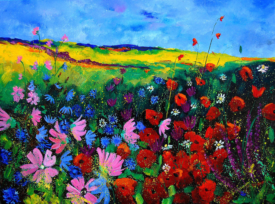 Poppies Painting - Field Flowers by Pol Ledent