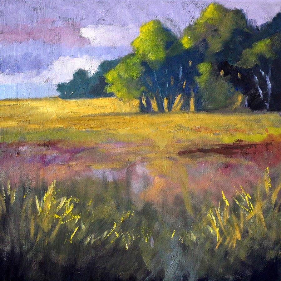 Oregon Painting - Field Grass Landscape Painting by Nancy Merkle