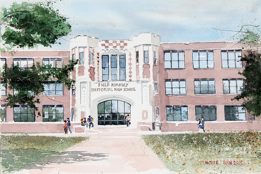 Kansas Painting - Field Kindley Memorial High School by Monte Toon