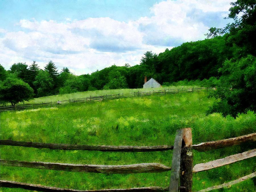 Barn Photograph - Field Near Weathered Barn by Susan Savad