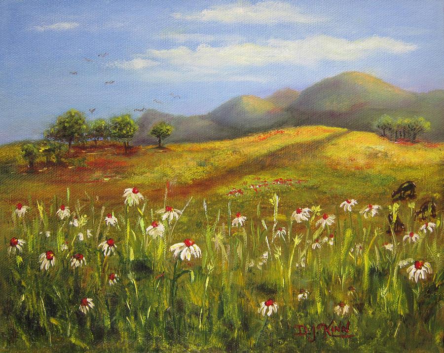 Landscape Painting - Field Of Daisies by Dottie Kinn