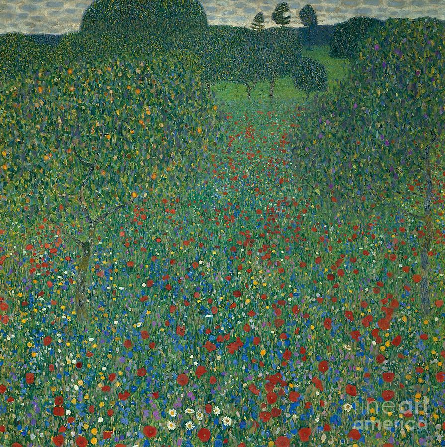 Art Painting - Field Of Poppies by Gustav Klimt