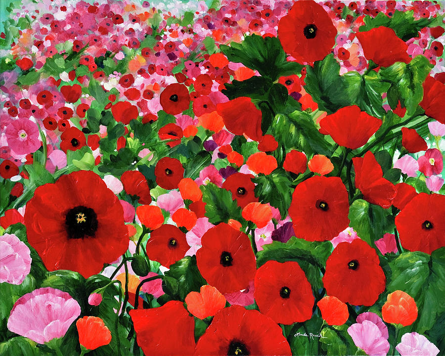 Red Poppies Painting - Field Of Poppies by Linda Rauch