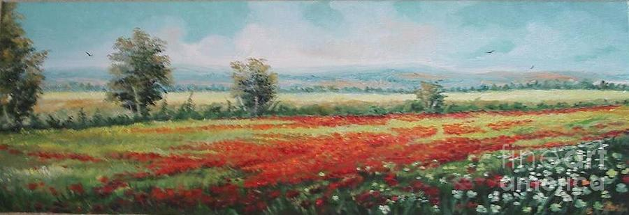 Summer Painting - Field Of Poppies by Sorin Apostolescu