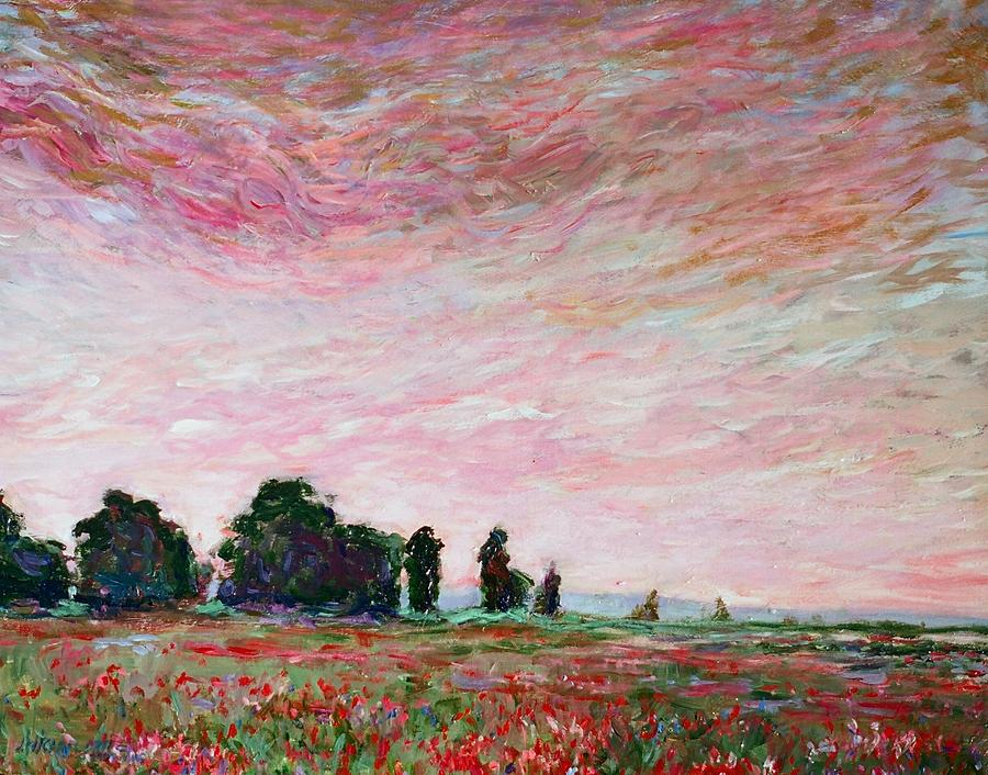 Landscape Painting - Field Of Red Poppies by J Michael Orr