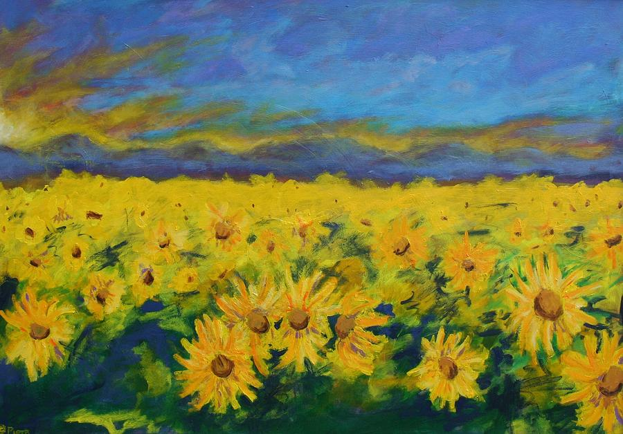 Piotr Painting - Field Of Sunflowers 2009 by Piotr Wolodkowicz