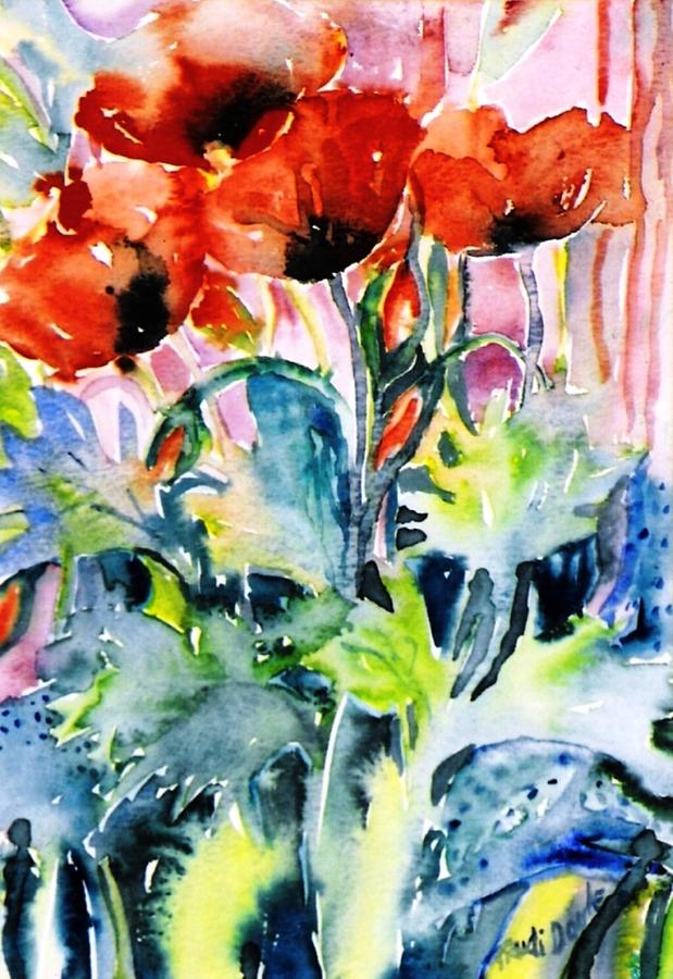 Poppies Painting - Field Poppies by Trudi Doyle